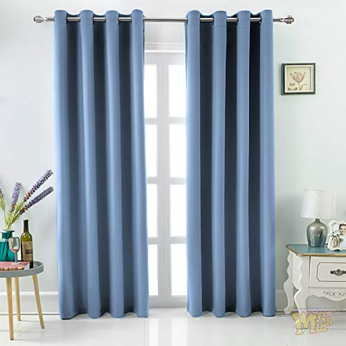 """MEMIAS Grommet Thermal & Noise Insulated, 100% Blackout Extra Thick 250 GSM Window Curtains, Bonus 2 Tie Backs Included, 2 Panels Total Wide 104"""" (Each Panel 52″ x 95″ Quite Blue) Review"""