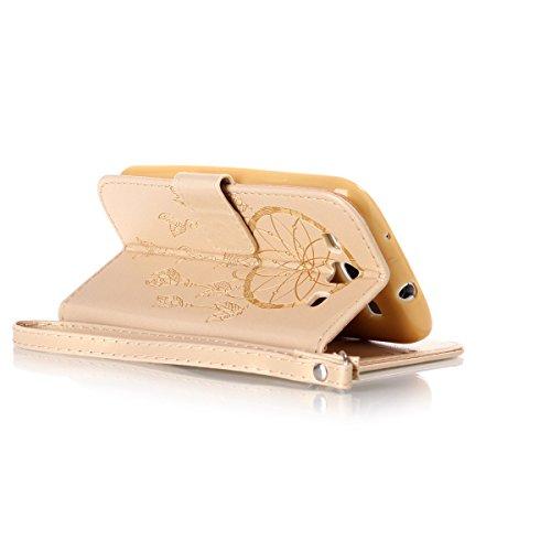 Funda Galaxy S3, Carcasa Plegable para Galaxy S III, Funda de piel Samsung i9300, Lifetrut Sólido Shiny Sparkle libro de estilo funda de cuero con ranura para tarjetas de cierre magnético soporte fund E206-Dream Catcher in Gold