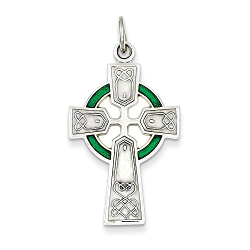 .925 Sterling Silver Epoxy Celtic and Iona Cross Charm Pendant