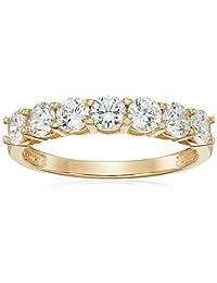 10k Gold 7-Stone Round cut Made with Swarovski Zirconia Ring