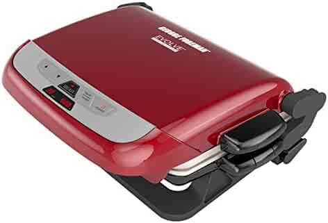 George Foreman 5-Serving Multi-Plate Evolve Grill System with Ceramic Plates, Deep Dish Bake Pan and Muffin Pan, Red, GRP4800R