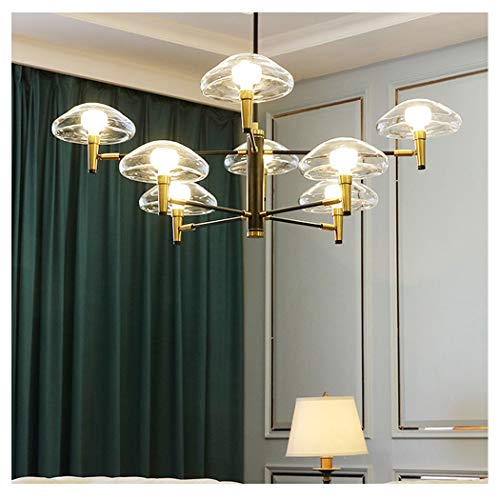 (YUNHAO Creative Jellyfish Chandelier Nordic Minimalist Living Room Dining Room Bedroom lamp Theme Hotel Glass Wrought Iron Chandelier (Color : White Light, Size : 8 heads-220V))
