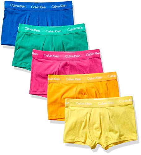 Calvin Klein Men's Cotton Stretch Multipack Low Rise Trunks Pride Pack, Thrill/Orange Flame/Maize/Tourney/Classic Blue, Medium
