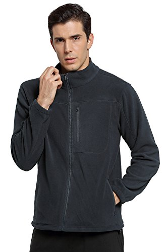 Helzkor Men's Heat Trapping Thermal Full Zip Fleece Jacket with Pockets - Black, L