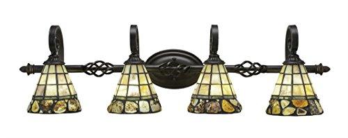 Toltec Lighting Eleganté 4 Light Bath Bar Cobblestone Tiffany Glass