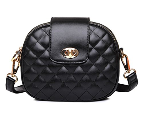 TianHengYi Small Women's Sythetic Leather Diamond Quilted Satchel Handbag Cross Body Purse Shoulder Bag Black -