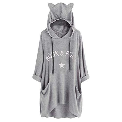 Spring color  Women's Fashion Letter Print Hoodie Dress Long Sleeve Asymmetrical Loose Dress with Side Pocket ()