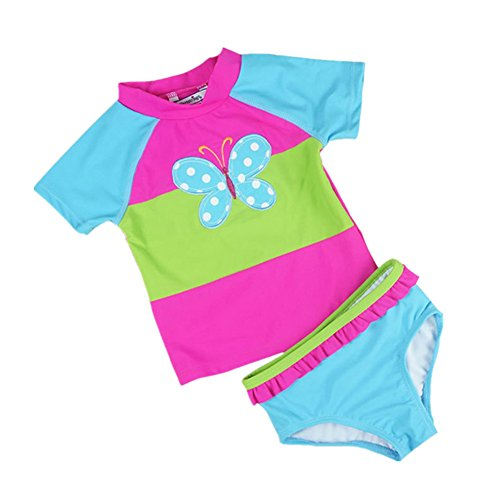 ASHERANGEL Little Girls Cute Colorful Rainbow 2 Piece Swimsuit Rash Guard Set Blue Butterfly 3T