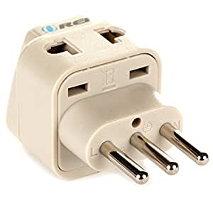 OREI Grounded Universal 2 in 1 Plug Adapter Type L for Italy, Uruguay & more - High Quality - CE Certified - RoHS Compliant WP-L-GN