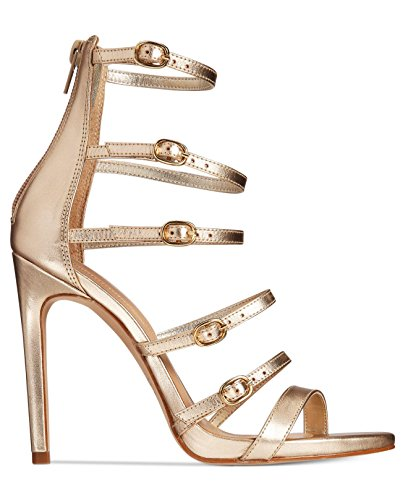 ALDO Womens Nandra Leather Open Toe Special Occasion Strappy, Gold, Size 6.5
