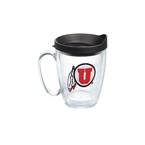 Utah 16 Ounce Tumbler - Tervis 1085066 Utah Utes Logo Tumbler with Emblem and Black Lid 16oz Mug, Clear