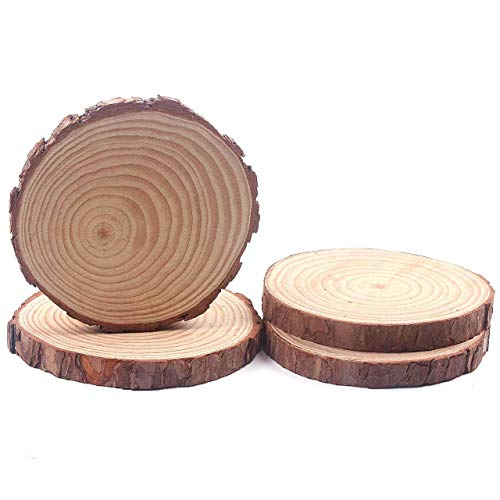 Natural Wood Slices, Round Basswood Slabs, 7 to 8inches, Rustic Tree Bark Slice, Weathered Log Disc, Outdoor Country Barn Wedding Table Centerpiece, (4 Pack)
