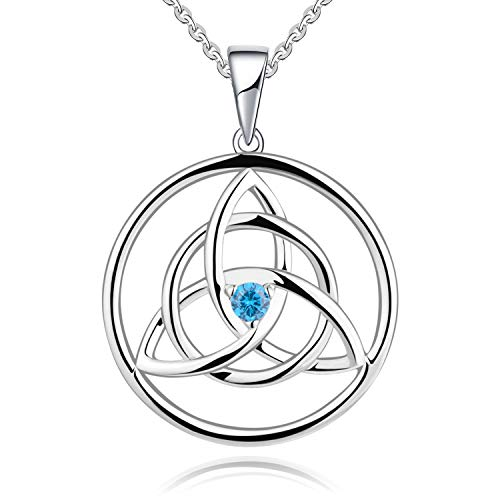 YL Women's Love Knot Necklace Sterling Silver Light Blue Cubic Zirconia Celtic Pendant Trinity Knot Jeweley