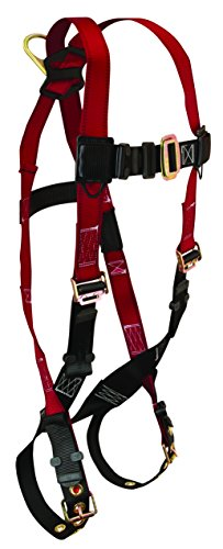 FallTech 7008XS Tradesman, Standard, Non-Belted Full Body Harness - 1 Back D-Ring, Tongue Buckle Legs and Mating Buckle Chest, X-Small, Red/Black -