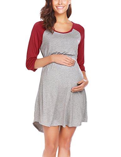 Ekouaer Women's Maternity Dress Doubled Layered Nursing Breastfeeding Nightgown,Dark ()