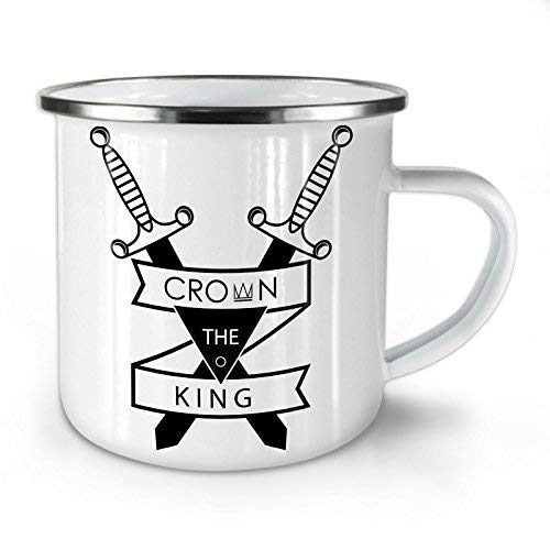 Crown King Sword Slogan Enamel Mug Knife Cup for Camping & Outdoors - 10 oz