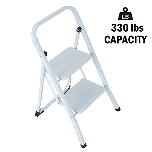 Lucky Tree Folding 2 Step Stool Lightweight White Aluminum Step Ladder with Anti-slip Wide Pedal Multi-Use for Home Portable Stepladder 330 lb Capacity