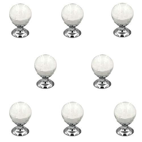 8 Pcs Round Crystal Ball Cabinet Drawer Mini Metal Jewelry Box Gift Case Knobs Single Hole Pull Handles