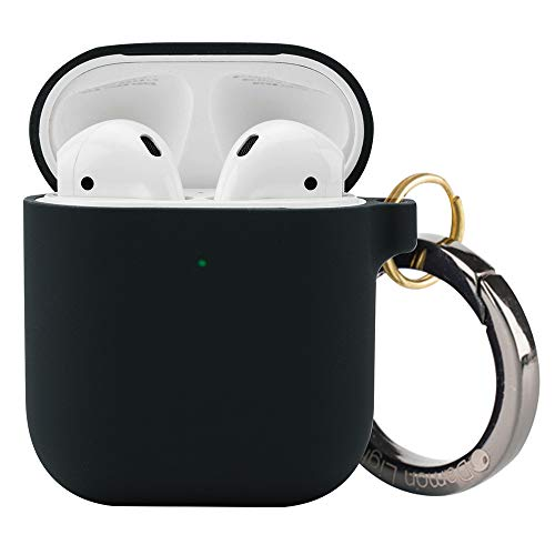 Black Premium Silicone Cover - DamonLight Premium Silicone Airpods Case with Carabiner {with no Hinge}Full Protective Cover Skin Compatible with Apple Airpods (Black)