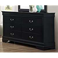 Roundhill Furniture Isony 594 Louis Philippe Style Wood Dresser, Black