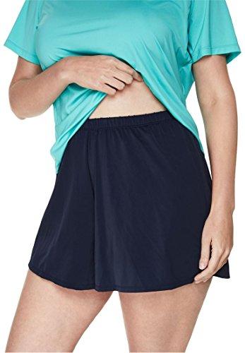 Swim 365 Women's Plus Size Taslon Cover-Up Swim Shorts Black,34/36