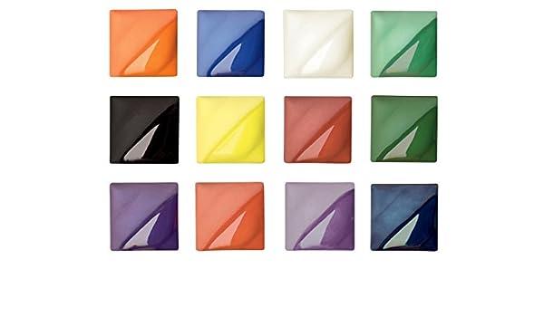 Set of 12-401650 AMACO Velvet Semi-Translucent Underglaze Set 1 Assorted Color
