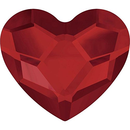 2808 Swarovski Nail Art Gems & Flatback Crystal Shapes Heart 6mm | Light Siam | 6mm - Pack of 10 | Small & Wholesale Packs