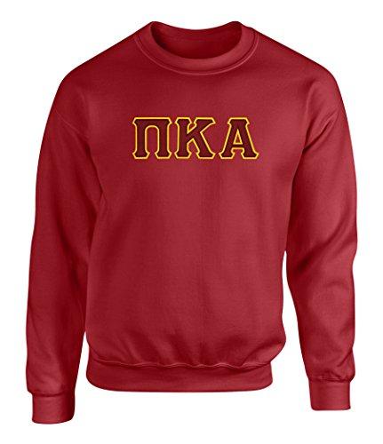 (Pi Kappa Alpha Twill Letter Crewneck Sweatshirt Maroon)