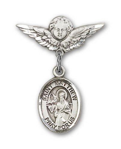 Icecarats Créatrice De Bijoux En Argent Sterling St. Matthew La Broche Badge Apôtre Charme D'Ange 7/8 X 3/4