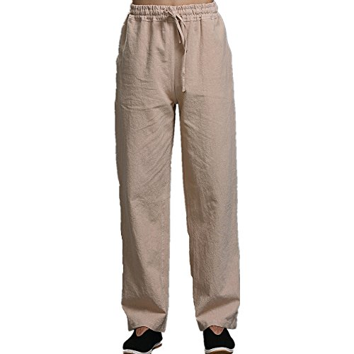 Men's Linen Plus Size Pants Elastic Waist Drawstring Casual Loose Breathable Straight Leg Long Trousers (Beige, - Houston Outlet Premium