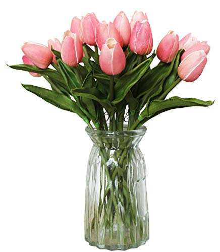 ALIERSA En Ge 10-Heads Home Deocr Mini Tulip Real Touch Tulip Artificial Flowers Bouquets - Flower Pink Tulip