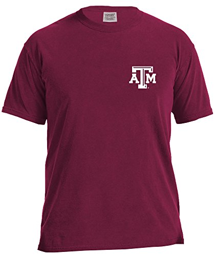 NCAA Texas A&M Aggies State Baseball Laces Short Sleeve Comfort Color T-Shirt, Small,AggieWine