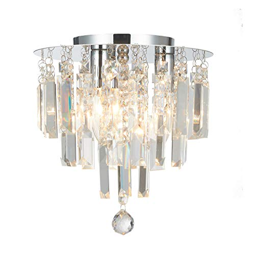Doraimi 3 Light Crystal Chandelier Modern Flush Mount Ceiling Pendant Light with Chrome Finish for Bedroom, Dining Room, Kitchen, Hallway etc.