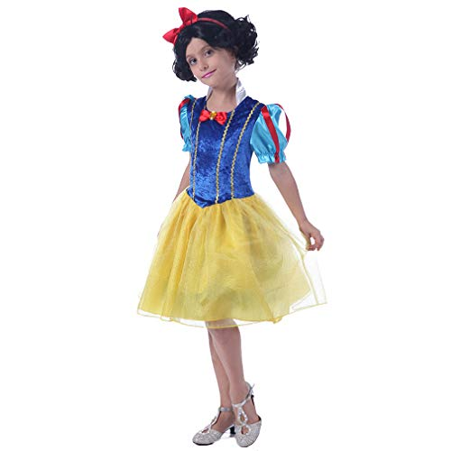 Fairytale Princess Costume - Grils Storybook Classic Fancy Childrens Role Play Halloween Christmas Party Cosplay Dress with Headwear for Kids ()