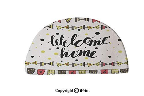 (LEFEDZYLJHGO Indoor and Outdoor Door Mat,Semicircle Non-Slip Doormats,30x18 inch,Cute Hand Drawn Doodle Card Postcard )