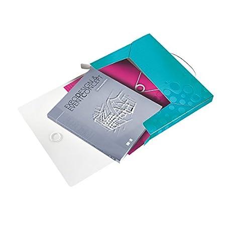 46290023 Polipropilene Dorso 3 cm WOW Chiusura a elastico Cartella progetti Fucsia metallizzato Formato A4 Leitz