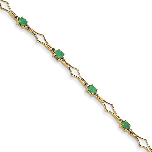 Or 14ct Diamant brut et émeraude Bracelet
