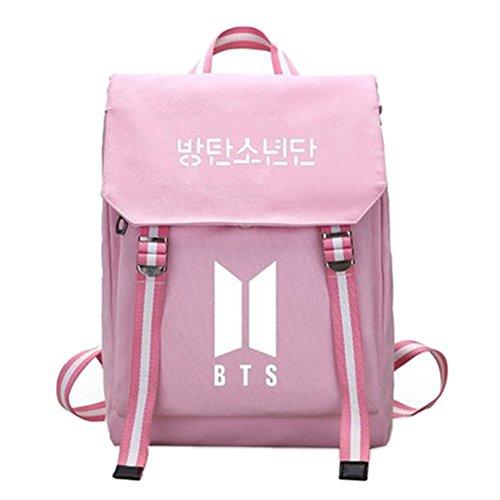 Shoulder Backpack Printing Canvas Handbag Boy Bts for Girl pink Schoolbag Kpop BTS Character wq6xIYF