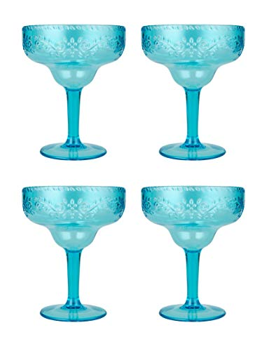- Plastic Margarita Glass BPA-Free 17 oz Large Blue Color Set of 4 By AYT