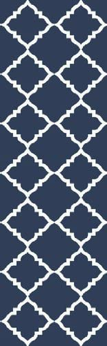 2.5' x 8' Diamante Cortante Navy Blue and Ivory Wool Area Throw Rug Runner
