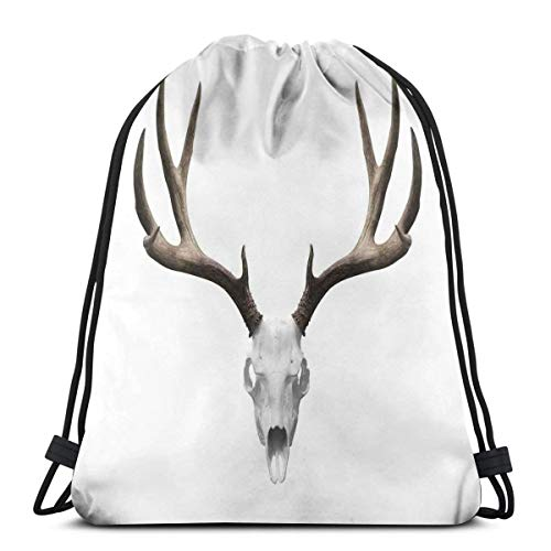 Printed Drawstring Backpacks Bags,A Deer Skull Skeleton Head Bone Halloween Weathered Hunter Theme Motif,Adjustable String Closure -