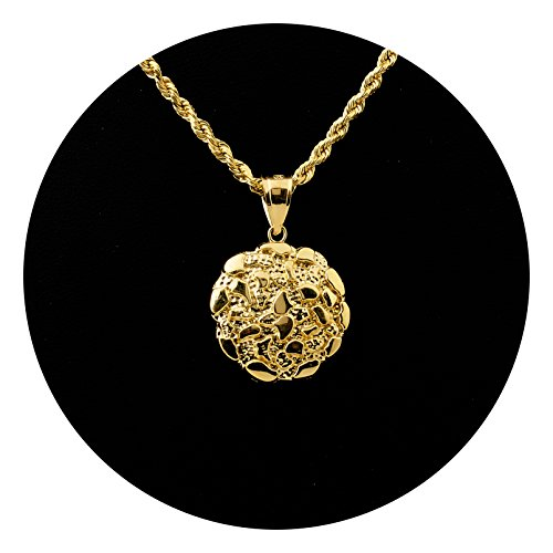 MR. BLING 10K Yellow Gold Round Nugget Charm Pendant (1.11