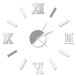 Weixinbuy Vintage Roman Numerals Frameless Wall Clock 3D Home Decor