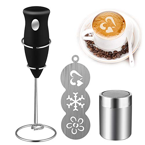 (Coffee Art Set, Coffee Milk Frother Drink Mixer with Cocoa Chocolate Shaker and Art Stencils for Cappuccino, Coffee, Latte, Hot Chocolate, Cooking (Includes Mini Mixer Stand))