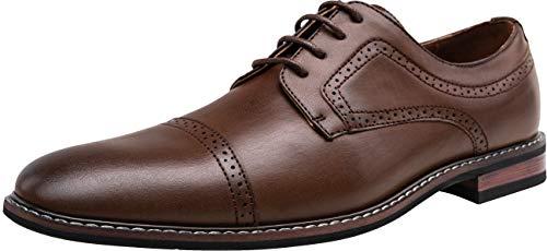 Men's Oxford Cap Toe Dress Shoes Brogue Formal Derby Shoes (11,Dark Brown-2) (Best Mens Derby Shoes)