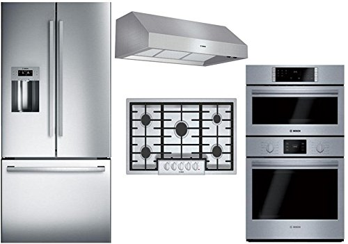 "Price comparison product image Bosch 4-Piece Stainless Steel Kitchen Package with B26FT50SNS 36"" French Door Refrigerator,  NGM8655UC 36"" Gas Cooktop,  DPH36652UC 36"" Under Cabinet Hood,  and HBL57M52UC 30"" Double Wall Oven"