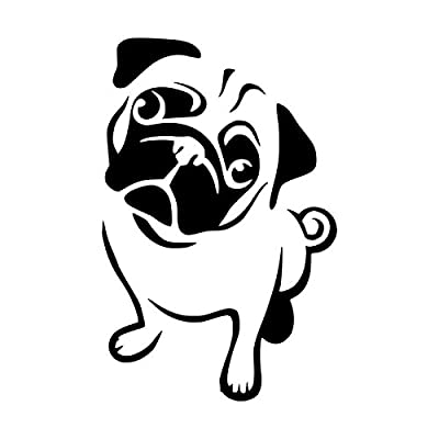 Cute Pug Dog Vinyl Decal Sticker | Cars Trucks Vans SUVs Windows Walls Cups Laptops | Black | 5.5 Inch | KCD2374: Automotive