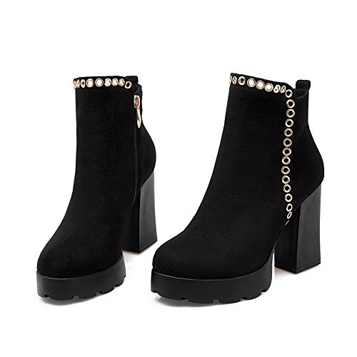 BalaMasa Ladies Chunky Heels Metal Ornament Platform Imitated Leather Boots Black zk4S8F