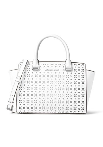a0a037771c78 Michael Kors Selma Floral-Perforated Medium Satchel in Optic White ...
