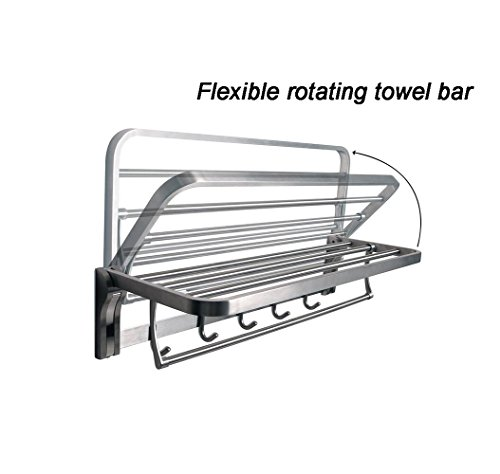 TOGU SUS 304 Stainless Steel 4 Racks Foldable Bathroom Shelf with Towel Bar, Heavy Duty Towel Shelves with 5 Hooks for Bathroom Lavatory,Brushed Stainless Steel Finish by Togu (Image #4)